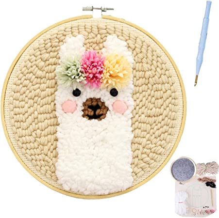 Owl DIY Latch Hook Kits with Punch Needle Embroidery Frame Rug Hooking Kit for Adults Kids Beginner