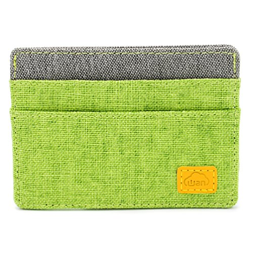 Fashion Series - Card Holder Wallet, 4 Slots 1 Top Access, Slim Fabric Design (Green Gray) by Wan Living