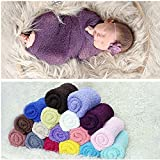 Newborn Baby Photography Cheesecloth Swaddle Cocoon Knit Crochet Wrap Photo Photography Prop (1)