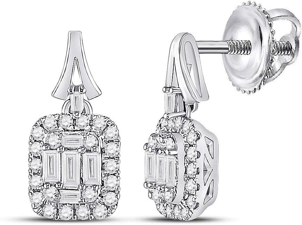 Diamond2Deal - Pendientes de oro blanco de 14 quilates para mujer con diamantes cuadrados de 1/2 quilates