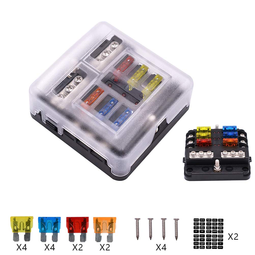 32V Car Balde Fuse Box Holder with LED Indicator for 12V//24V Car Automotive Boat Van Truck Marine with Independent Positive Negative /& Protctive Cover QLOUNI 6-Way Fuse Block Box 1-Input 6-Output