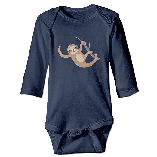 e2ad19c0fae7 Amazon.com  Sloth Lying On Tree Soft Cotton Long Sleeve Unisex Baby ...