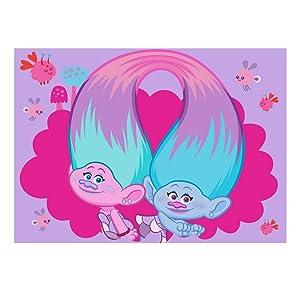Alfombra niño Los Trolls 133 x 95 cm Disney Super Chula