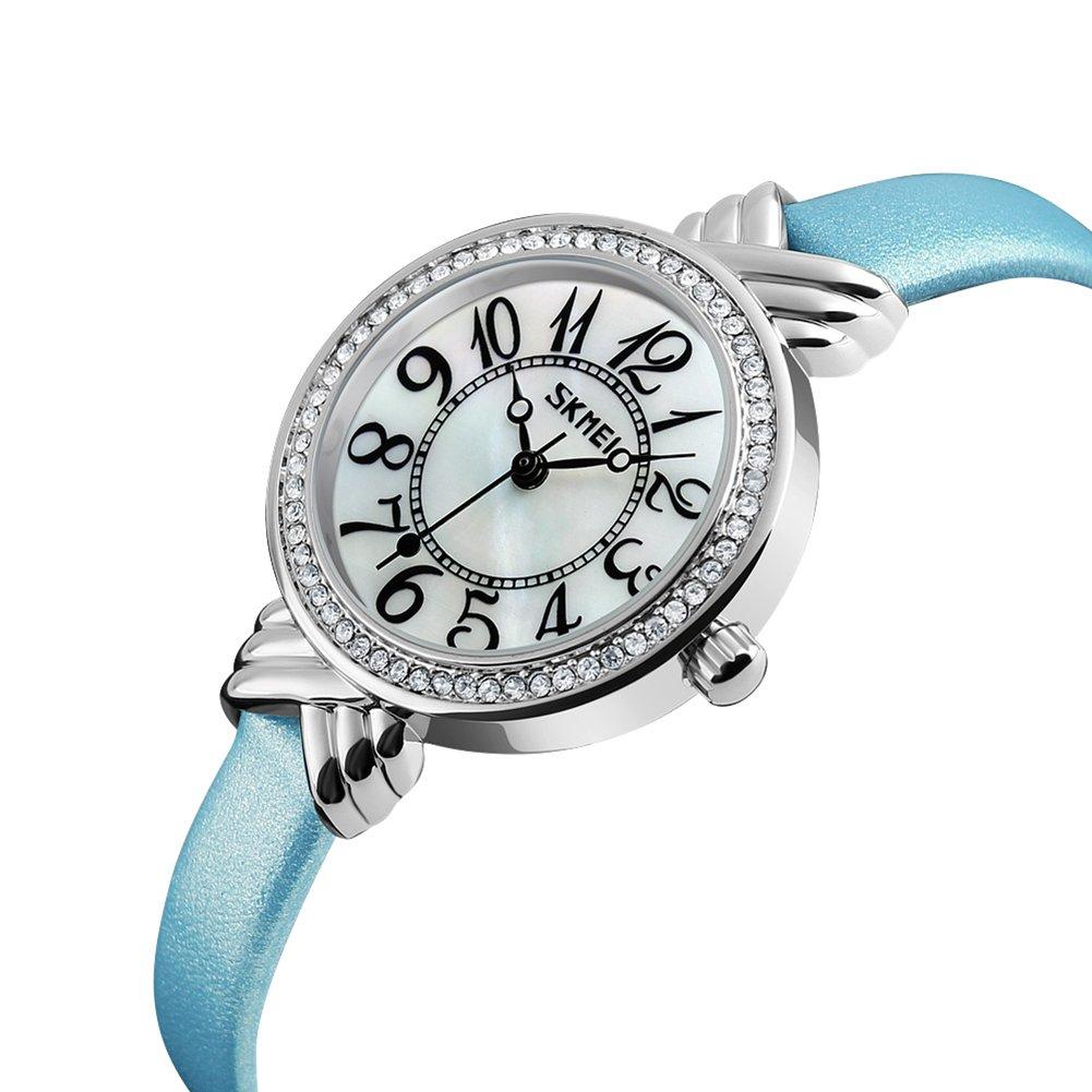 Luxury Brand Women Vintage Quartz Watch Fashion Female Crystal Leather Watch Girl Easy Reader Dress Watch (Light Blue) by Gosasa (Image #2)