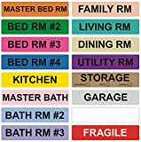 800 Home Moving Labels - Colored Label Supplies for Boxes, Packing & Box Stickers (16 Rolls, 4 Bedroom House) with 1 Empty White Label Roll for Customization
