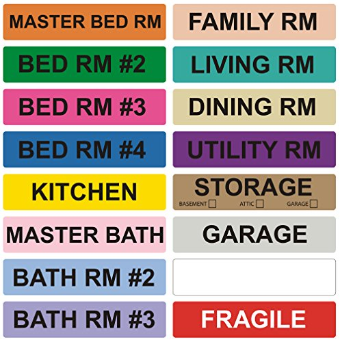 800 Home Moving Labels - Colored Label Supplies for Boxes, Packing & Box Stickers (16 Rolls, 4 Bedroom House) with 1 Empty White Label Roll for Customization (Tape Cart Labeled)