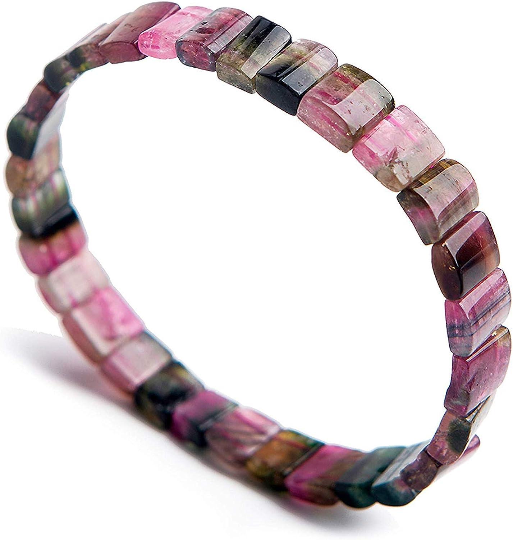 DUOVEKT Pulsera de cuentas de turmalina colorida natural de 8 x 4 mm para mujeres y hombres, regalo de piedras de cristal rectangulares, joyería elástica AAAAA