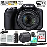 Canon Powershot SX530 HS 16MP Wi-Fi Super-Zoom Digital Camera 50x Optical Zoom ULTIMATE Bundle Includes Deluxe Camera Bag, 32GB Memory Card, Extra Battery, Tripod, Card Reader, Cable & Prime Cloth