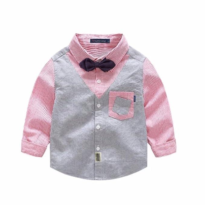 c7c48ecb21a45 AMIGOYO 子供服 ワイシャツ 男の子 女の子 男女兼用 シャツ 長袖 縞柄 ボーイズ キッズ リボン付き 偽