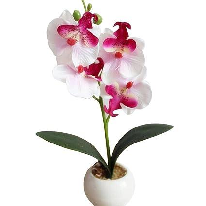 Blesiya Artificial Plastic Flower Bonsai Plant Tree with Pot Garden Decor