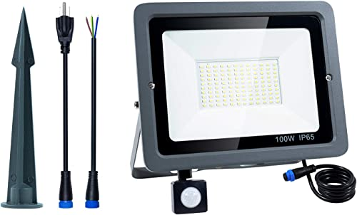 Oshide 100W LED Floodlight with Motion Sensor, PIR Induction Lamp, Cool White 6000K 7000lm Super Bright Waterproof Security Floodlight