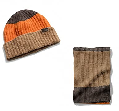 Amazon.com  Coach Men s Block Stripe Knit Scarf and Hat Set  Clothing 2339adb54330