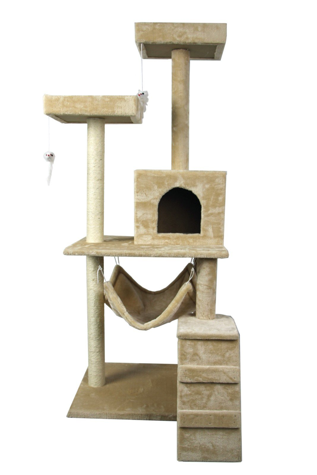 Hiding Cat Tree 59'' Tree Tower Condo Furniture Scratch Post Kitty Pet House Play Furniture Sisal Pole Stairs and Hammock (Beige)