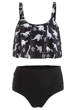 96c50cbd7a Nicetage Women's Straps Dinosaur Print Ruched High Waist Two Piece Bikini  Set HS234-170(
