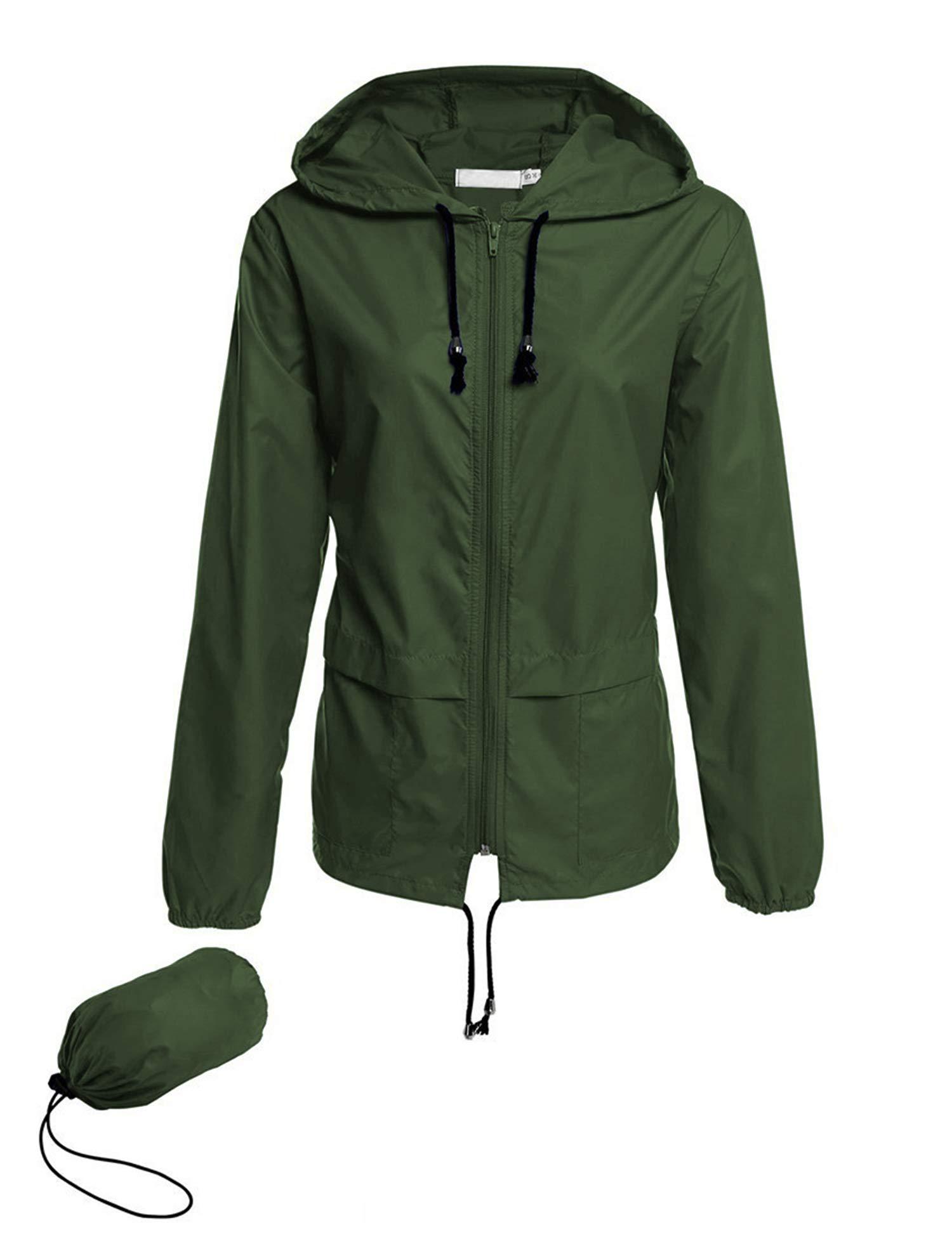 Avoogue Lightweight Raincoat Women's Waterproof Windbreaker Packable Outdoor Hooded Rain Jacket Dark Green S by Avoogue