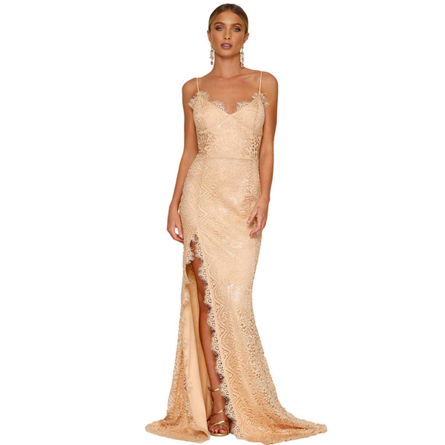 Khaki Party Dress pHeAEy Ladies Elegant Lace Long Evening Dress Sexy Party Dress Dress