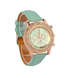 Bracelet Watch,Vovotrade Vogue Women Crystal Dial Quartz Analog Leather Watch Mint Green
