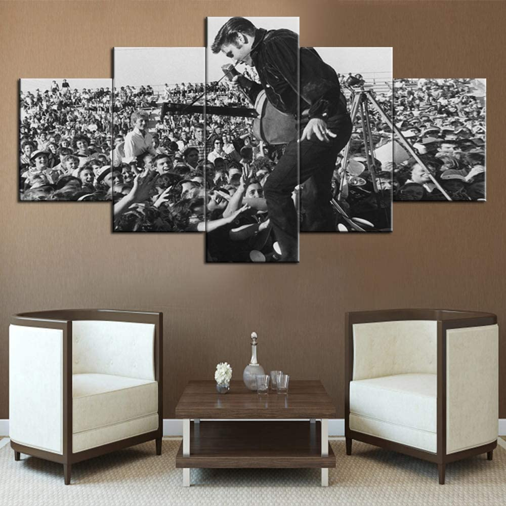 Wall Pictures for Living Room Elvis Presley Paintings Prints on Canvas 5 Panel Wall Art American Singer Pictures Home Decor for Living Room Modern Artwork Framed Stretched Ready to Hang(60''Wx32''H)