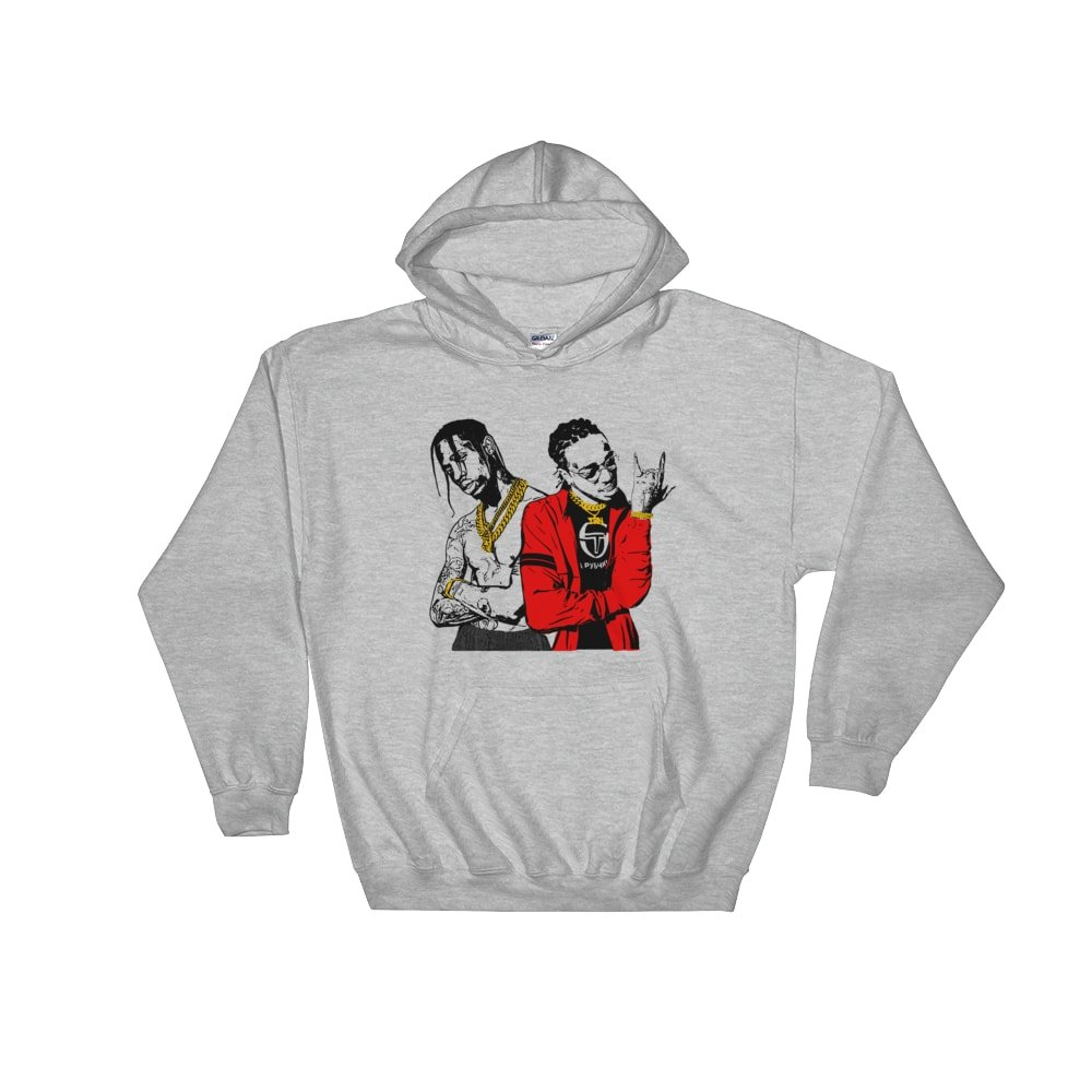 ba8f5be6bfd5 Babes & Gents Huncho Jack Quavo and Travis Scott Grey Hoodie Sweater  (Unisex) at Amazon Men's Clothing store: