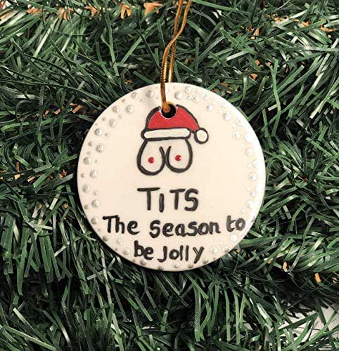 Amazoncom Made In Usa Personalized Funny Ornament Tits The