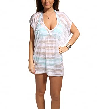 6ac05126c234 Image Unavailable. Image not available for. Color  JORDAN TAYLOR Womens  Sheer Burnout Striped Swimsuit Cover ...