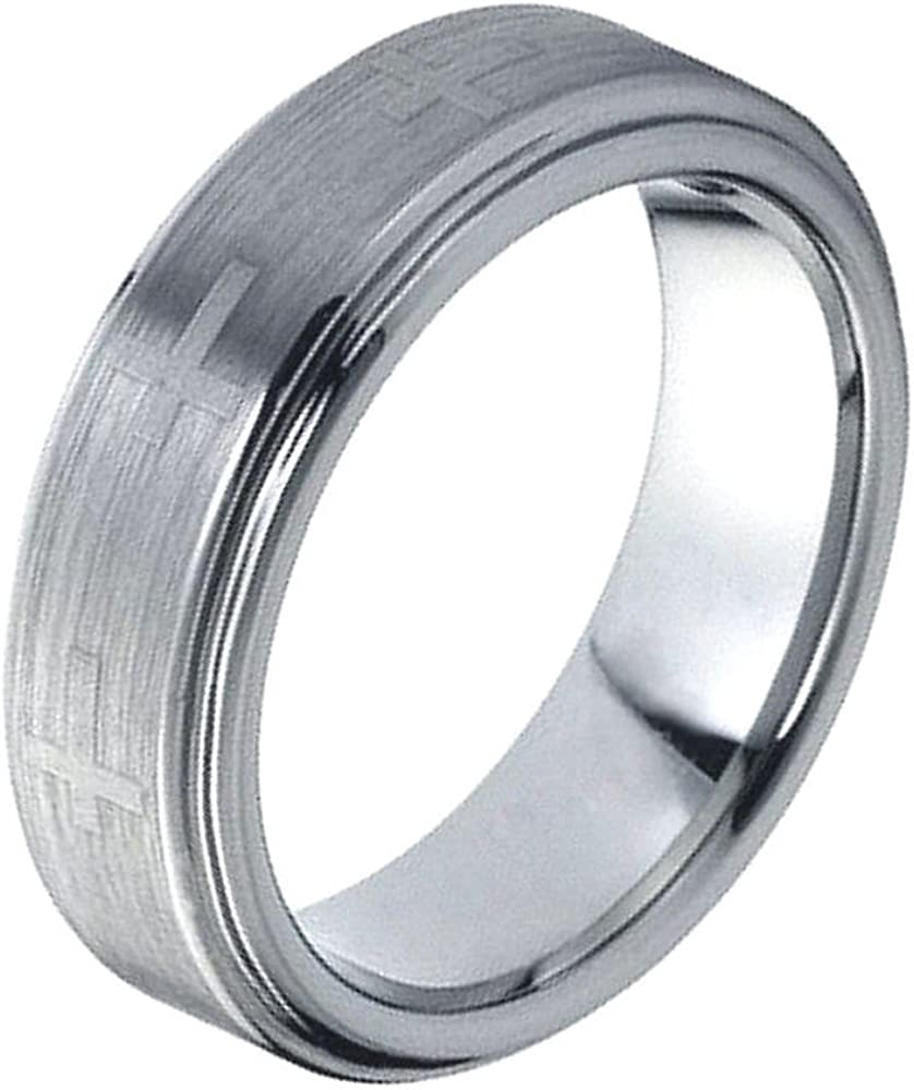 Cross Accent over Brushed Center Comfort Fit Tungsten Carbide Anniversary Ring Mens 8mm Pipe Cut Stepped Edge Wedding Band