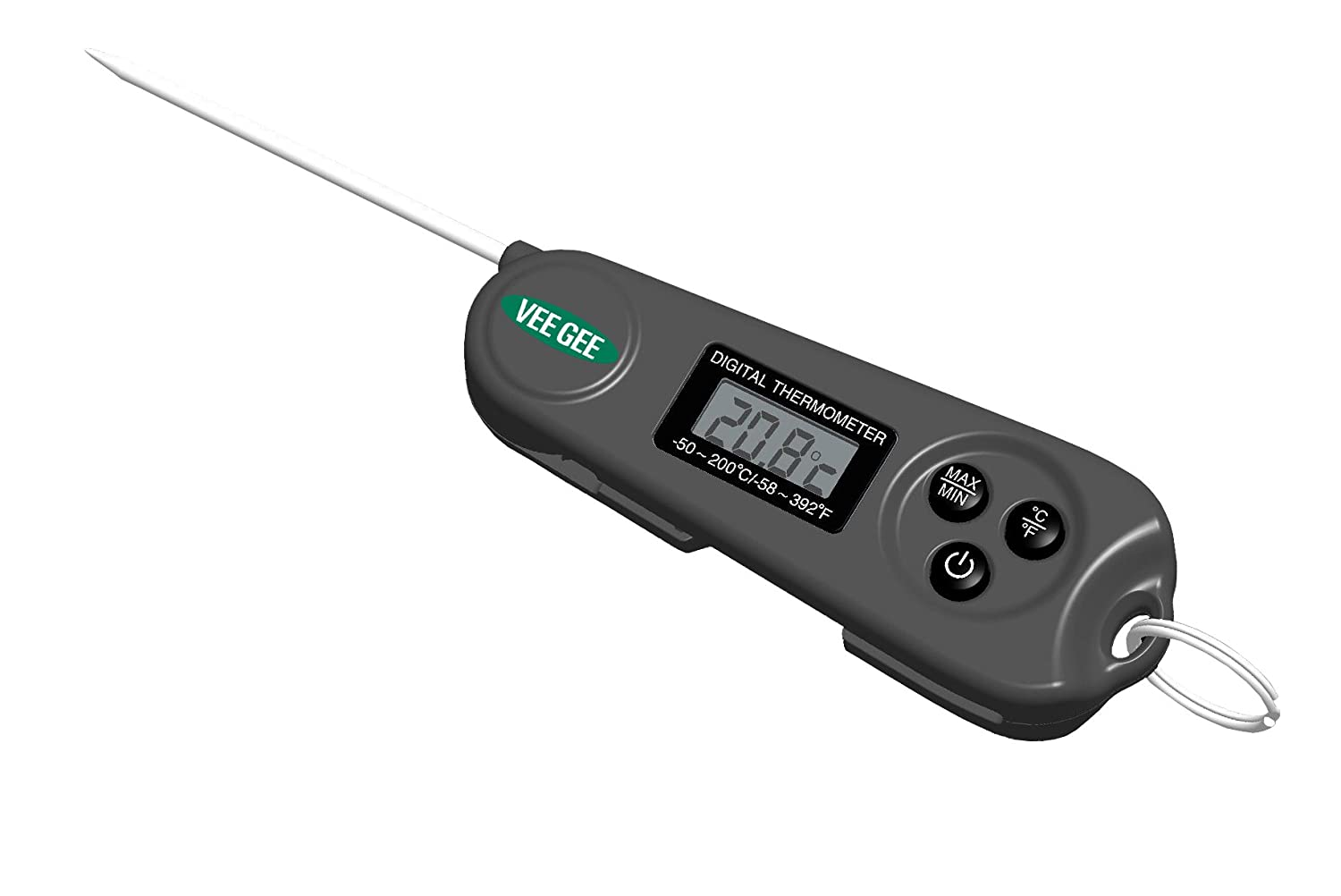 Vee Gee Scientific 83410 Minifold Digital MinMax Thermometer, -50°C to +200 °C, -58°F to +392°F Degree C, Plastic; Stainless Steel Stem, Charcoal Grey