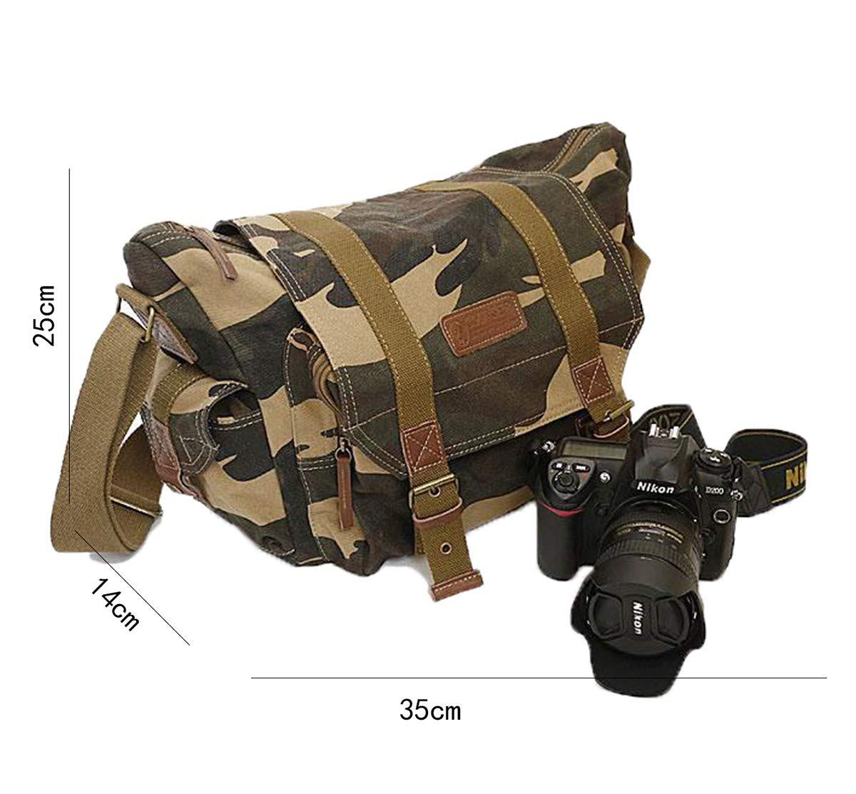 FSPJ-3 Tclothing Camouflage M/ä nner Kameratasche f/ü r Deine SLR-Kamera Kuriertasche f/ü r Photographers Wasserdicht Military H/ü fttasche Canvas Umh/ä ngetasche Dunkelbraun