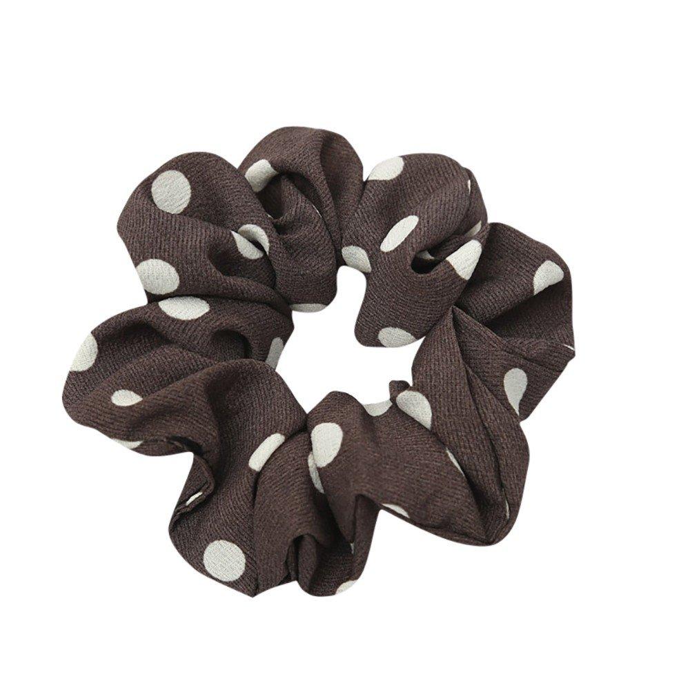 Fashion Headband, Dingji Women Elastic Hair Rope Ring Tie Scrunchie Ponytail Holder Hair Band Headband (Coffee)