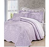 4 Piece Lavender Purple Oversized Damask Bedspread Set King, French Country Shabby Chic Floral Pattern Luxury Bedding, To The Floor Drapes Over Edge Scalloped Edges Extra Long, Microfiber Polyester