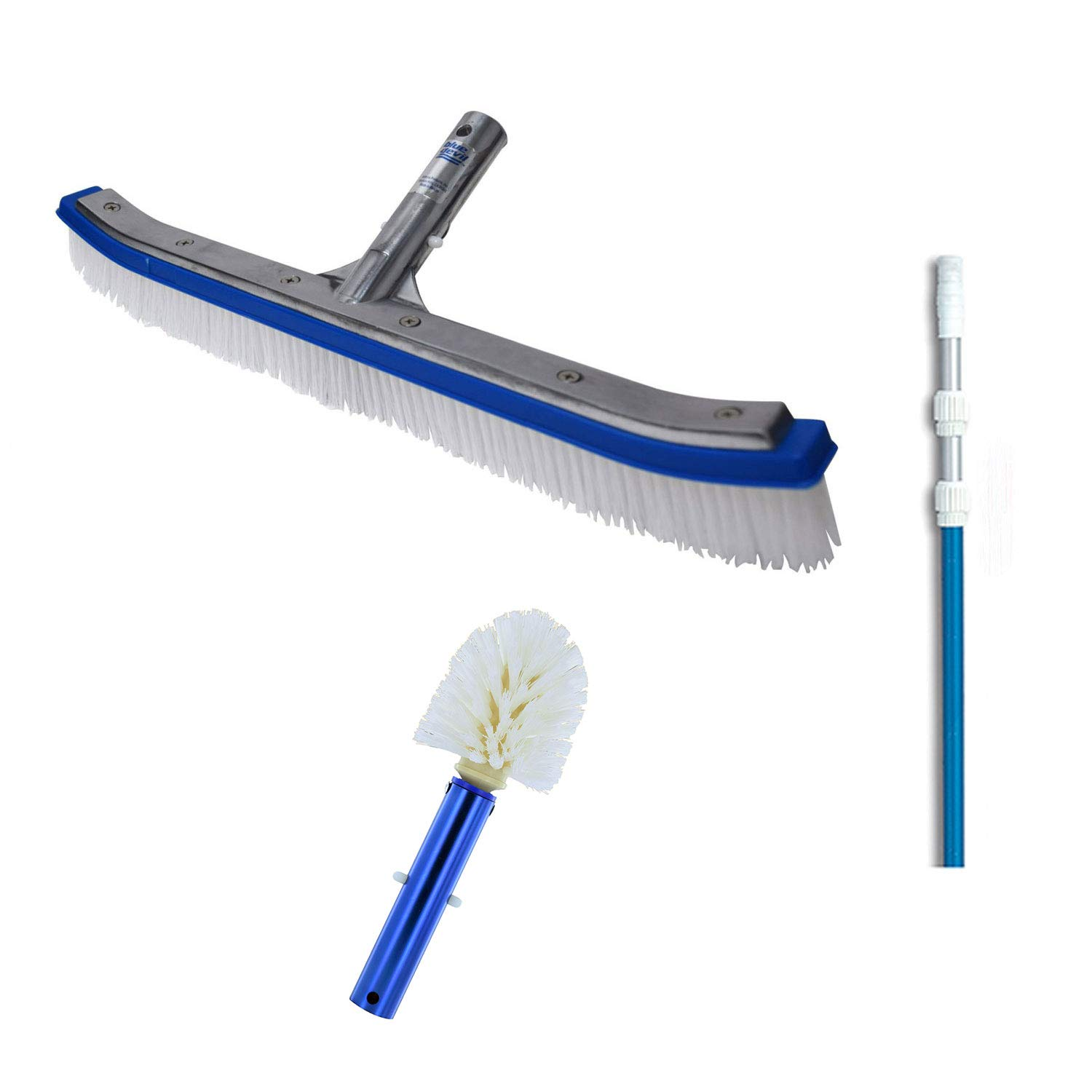 Blue Devil 18 Inch Pool Brush + 7 to 21 Foot Pole + Corner and Step Brush by Blue Devil