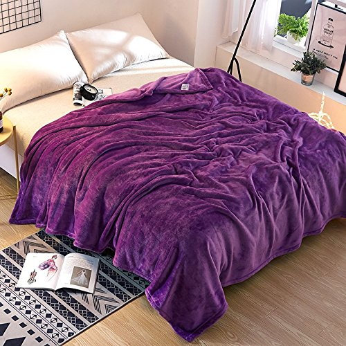 Znzbzt Solid color coral fleece blankets 1.2 single student hostels and plush linens 1.8 1.5 winter flannel blanket 2m ,200x230cm- solid-colored cloud mink plush, Purple by Znzbzt