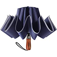 Lejorain Large Reverse Umbrella -50 Inch Windproof Folding Inverted Umbrella - Upside Down with Safety Reflective Strip