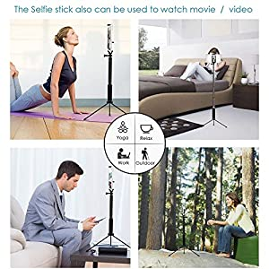 Bluetooth Selfie Stick with Tripod, Remote 59Inch MFW Extendable Monopod with Tripod Stand for iPhone X/8/7/6/Plus,Tablet,Samsung S7/S8,Android,GoPro Cameras