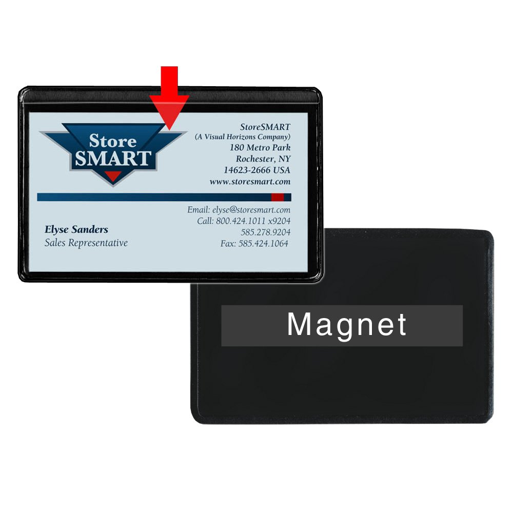 amazoncom storesmart magnetic business card holder 2 x 3 14 vinyl plastic open long black back 25 pack pe222lbkm 25 office products - Magnetic Card Holder