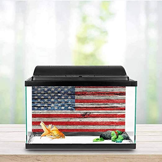 Amazon Com American Flag Usa Glass Aquarium Kit Painted Old Wooden Panel Wall Looking Freedom Symbol Print Decals Poster Lblue Red W30 X L18 Inch Pet Supplies