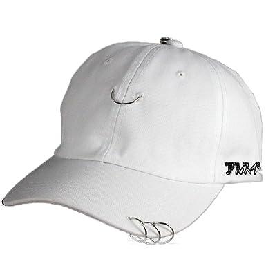 YABINA Unisex Silver Ring Piercing Rock Cotton Baseball Hat Truckers -  White - f23043dddb2c