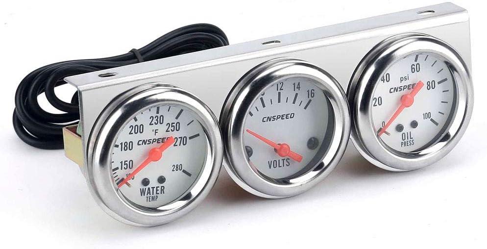 KKmoon 52mm Manómetro 3 en 1 Medidor de Coche (Voltimetro, Temperatura del Agua, Presión del Aceite), para Auto
