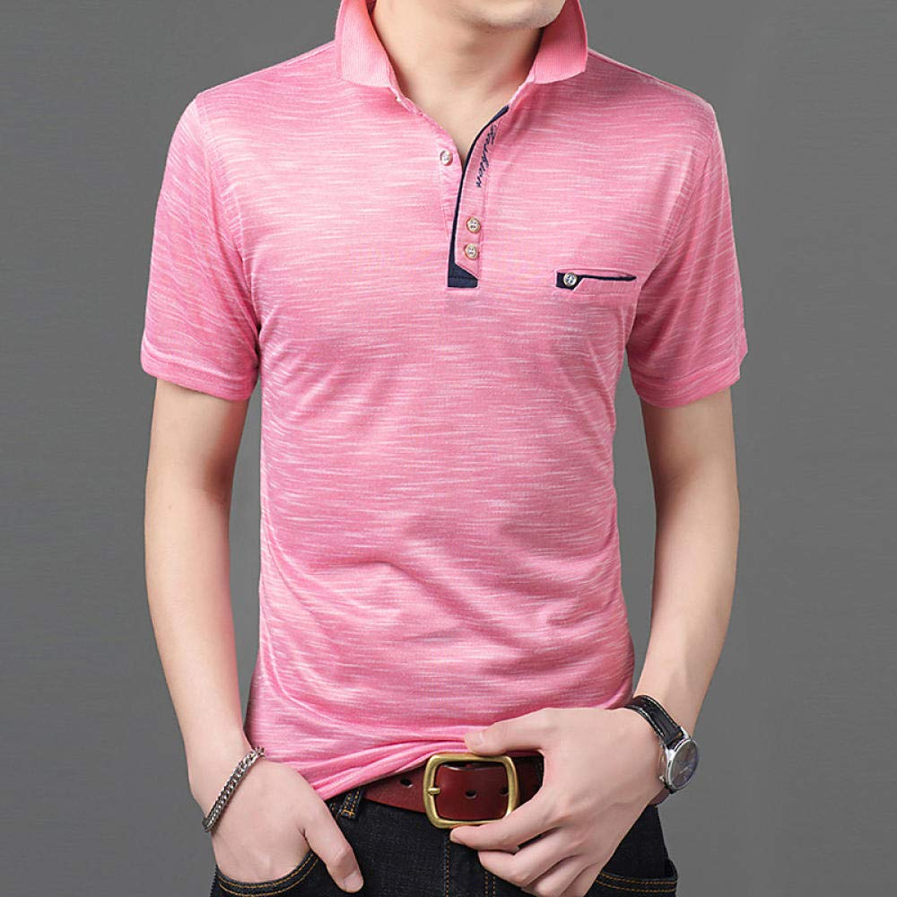 Solid Colored Shirt Collar Blushing Pink XL YFLTP Mens Polo