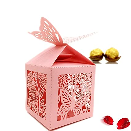 The Love 50 Pcs Laser Cut Butterfly And Flowers Creative Chocolate Box Wedding Favors Candy Boxes