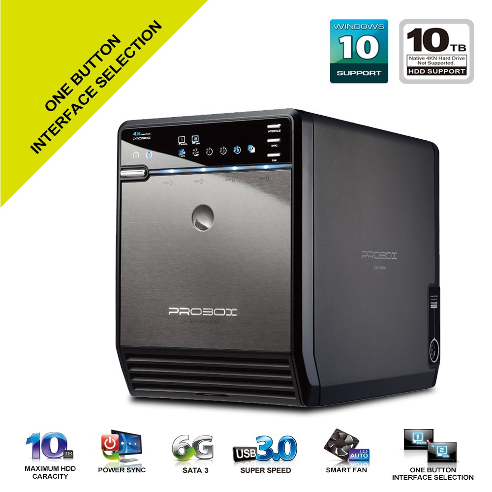 "Mediasonic ProBox HF2-SU3S2 4 Bay 3.5"" SATA HDD Enclosure – USB 3.0 & eSATA Support SATA 3 6.0Gbps HDD transfer speed"