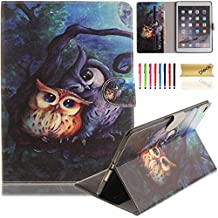 iPad Air 2 Case, iPad 6 Case, Dteck(TM) Pretty Cute Cartoon Flip Kickstand Case with {Card Money Slots} Full Body Protection Premium Synthetic Leather Wallet Cover for Apple iPad Air 2-Lovely Owls