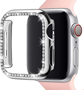 Leotop Compatible with Apple Watch Case 38mm 42mm, PC Plated Hard Bumper with Bling Diamonds Crystal Shiny Glitter Cover Frame Compatible iWatch Series 3/2/1 for Women (Silver, 38 mm)