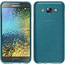 Silicone Case for Samsung Galaxy E5 - brushed blue - Cover PhoneNatic + protective foils