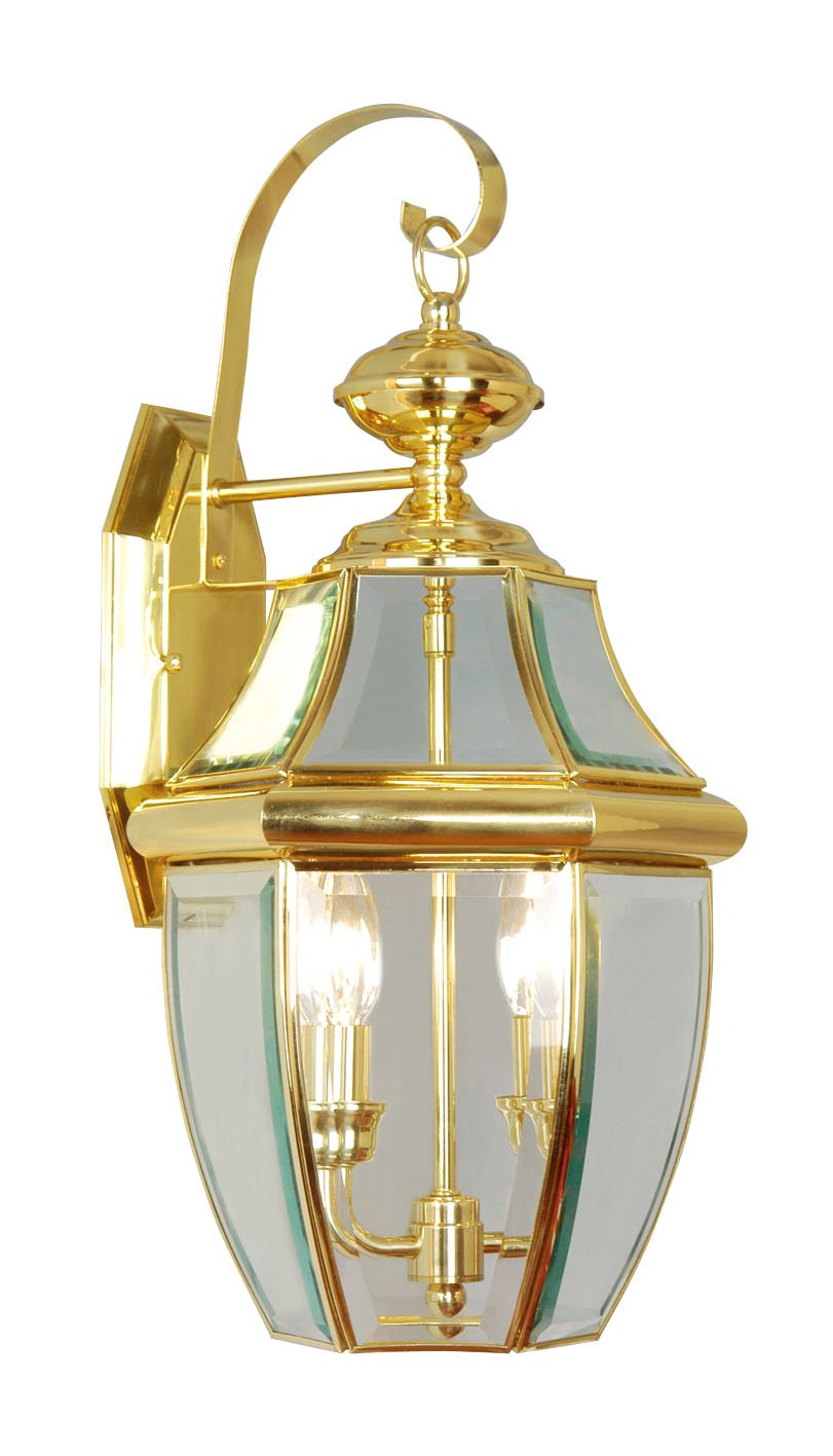 Livex Lighting 2251-02 Monterey 2 Light Outdoor Polished Brass Finish Solid Brass Wall Lantern  with Clear Beveled Glass by Livex Lighting