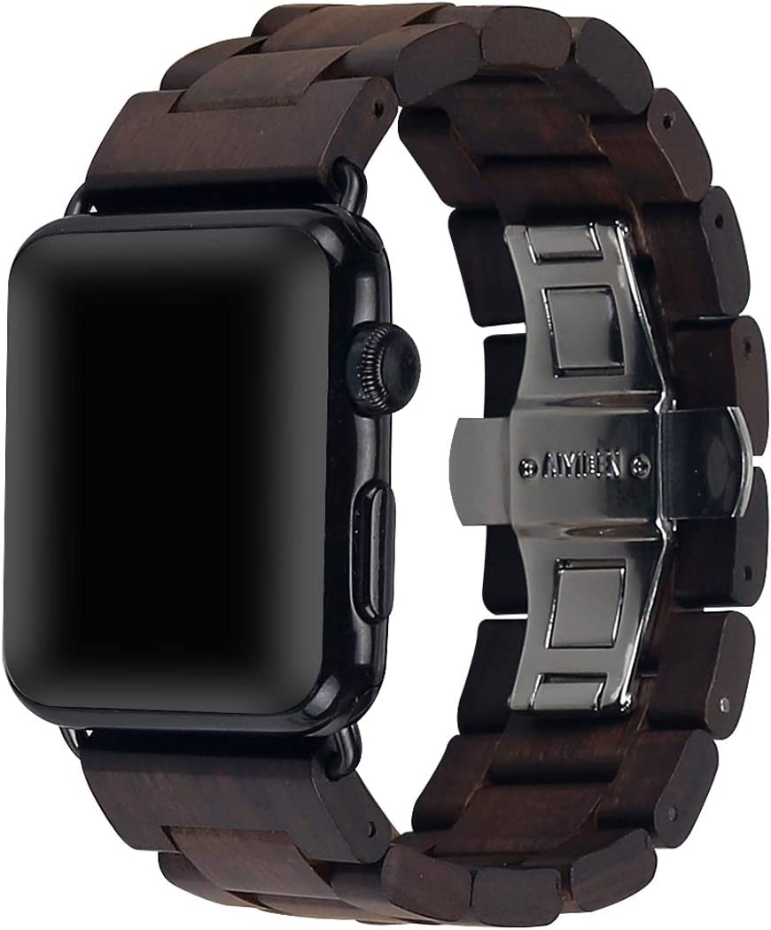Wooden Watch Strap Band 42mm/44mm with Stainless Steel Butterfly Buckle Compatible for iWatch Series 1 2 3 4 5(Brown)