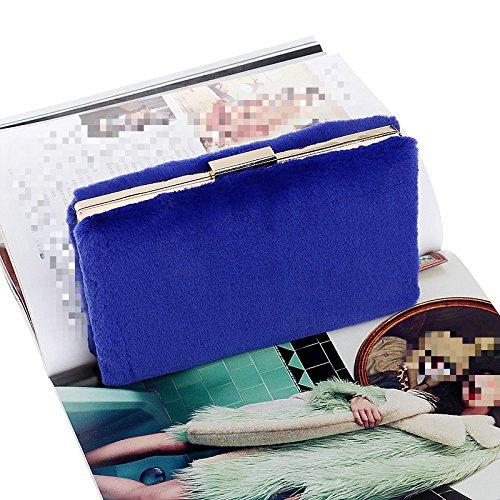 Shoulder Handbag Bag Ladies Party Women Plush For Wedding Bridal Evening Blue Bag Gift Clutch Purse Clubs Prom WYfWwqFB