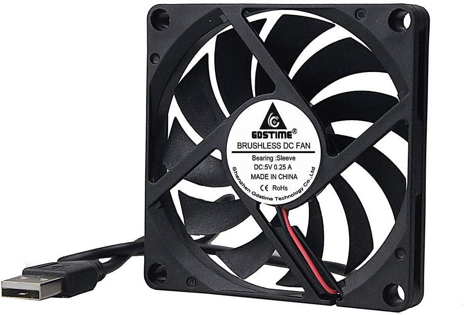 GDSTIME 80mm x 10mm 5v USB Connector Dc Brushless Cooling Fan