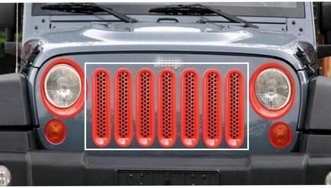 Nicebee 7pcs//Set Red Front Honeycomb Punch Round Grille Grill Mesh Insert Cover Trim for 2007-2017 Jeep Wrangler JK