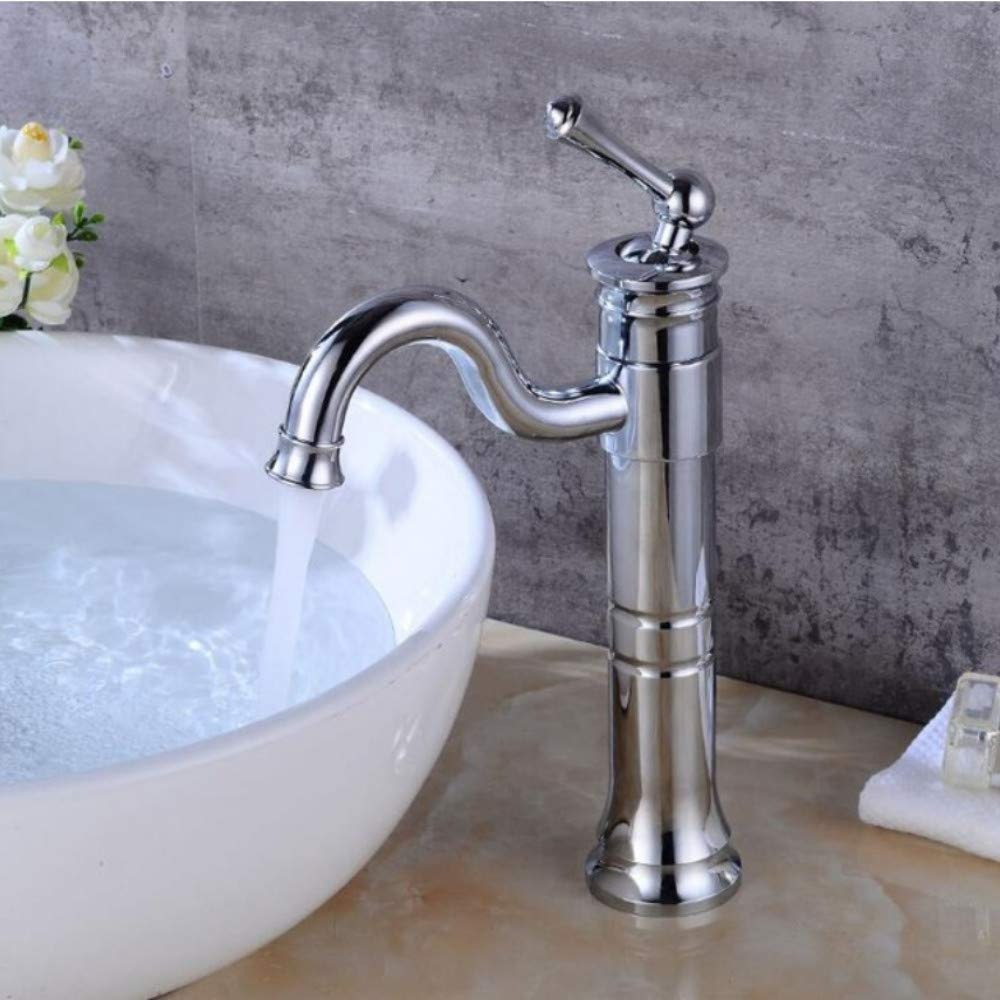 Lddpl Basin Faucets Antique Brass Faucet Bathroom with Single Handle Vintage Deck Mount S Hot Cold Bath Mixer Water Tap